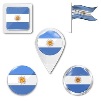 Conjunto de la bandera nacional de argentina.