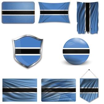 Conjunto de la bandera nacional de botswana