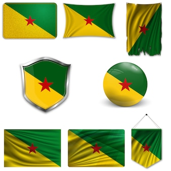 Conjunto de la bandera nacional de la guayana francesa.