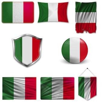 Conjunto de la bandera nacional de italia