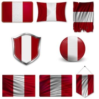 Conjunto de la bandera nacional del peru.