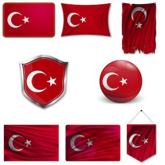 Conjunto de la bandera nacional de turquía.