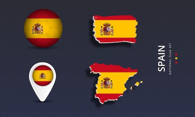 Conjunto de bandera de onda de país nacional de españa