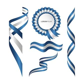 Conjunto de bandera ondulada abstracta de la argentina con estilo de cinta