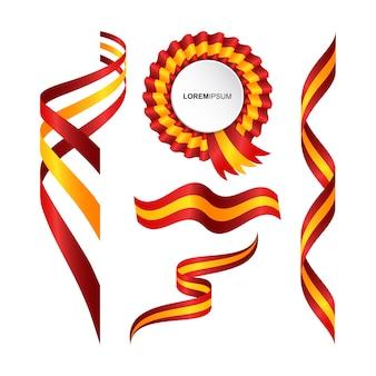 Conjunto de bandera ondulada abstracta de españa con estilo de cinta