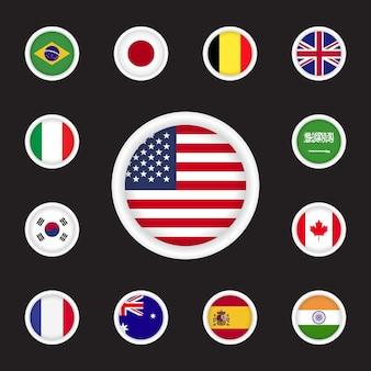 Conjunto de bandera del país con insignia redonda ilustración vectorial
