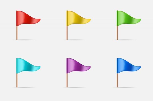 Conjunto de bandera que agita triangular
