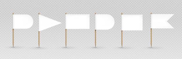 Conjunto de banderas blancas de palillo de dientes