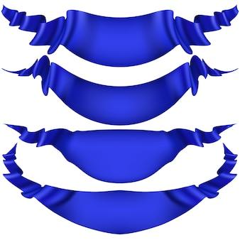 Conjunto de banderas de cinta azul sobre fondo blanco.