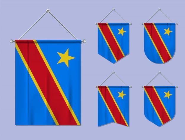 Conjunto De Banderas Colgantes República Del Congo Con Textura Textil Formas De Diversidad Del País De Bandera Nacional Banderín De Plantilla Vertical Vector Premium