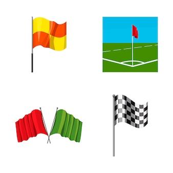 Conjunto de banderas. conjunto de dibujos animados de bandera