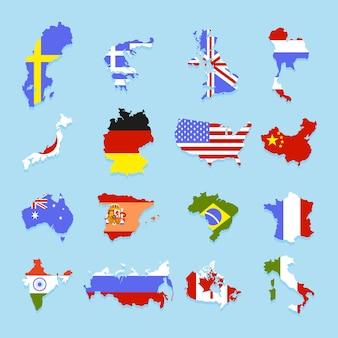 Conjunto de banderas de diferentes estados en la forma del país al que pertenecen. estilo de dibujos animados. ilustración vectorial.