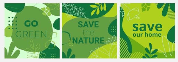 Conjunto de banderas ecológicas con fondos verdes, hojas de formas líquidas y elementos