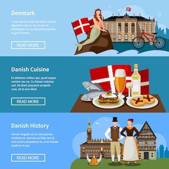 Conjunto de banderas de estilo plano de monumentos daneses