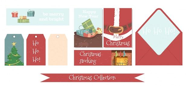 Conjunto de banderas y etiquetas de navidad y año nuevo