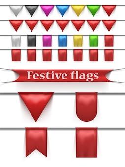 Conjunto de banderas festivas.