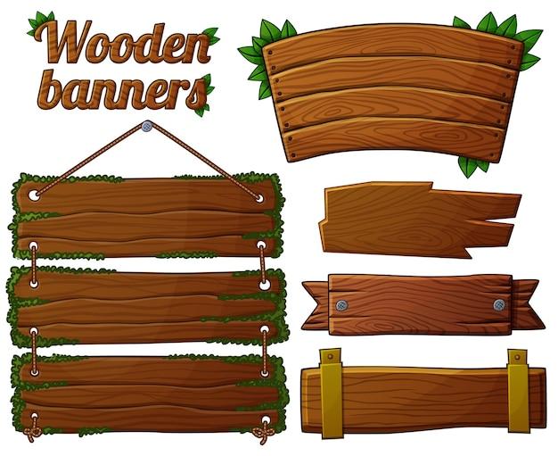Conjunto de banderas de madera oscura.