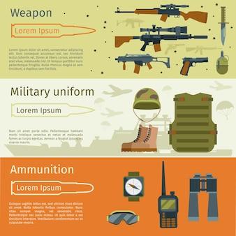 Conjunto de banderas militares o fondos del ejército. municiones militares y armas con ilustración de uniforme militar.
