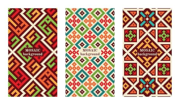Conjunto de banderas de mosaico con azulejos. texturas geométricas modernas.