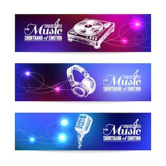 Conjunto de banderas musicales. ilustraciones dibujadas a mano y diseño tipográfico.