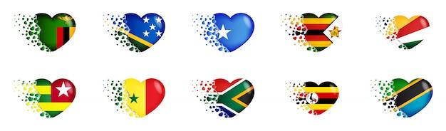 Conjunto de banderas nacionales del país de áfrica en la ilustración del corazón. las banderas nacionales ondean pequeños corazones