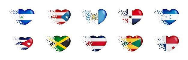 Conjunto de banderas nacionales con volar pequeños corazones