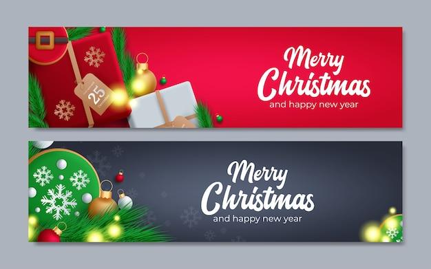 Conjunto de banderas navideñas