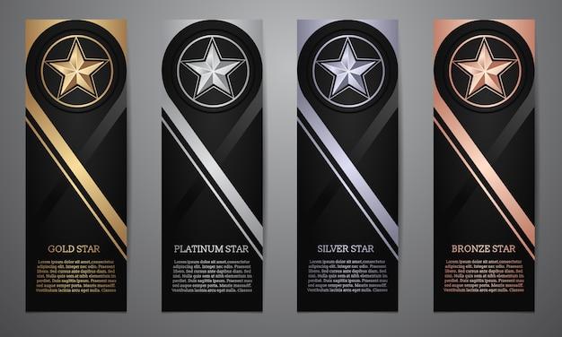 Conjunto de banderas negras, estrella de oro, platino, plata y bronce, ilustración vectorial