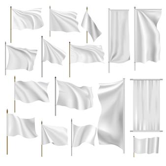 Conjunto de banderas y pancartas.