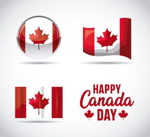 Conjunto de banderas de patriotas de canadá