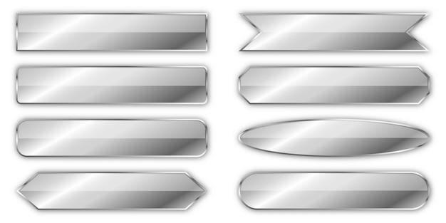 Conjunto de banderas de plata aislado