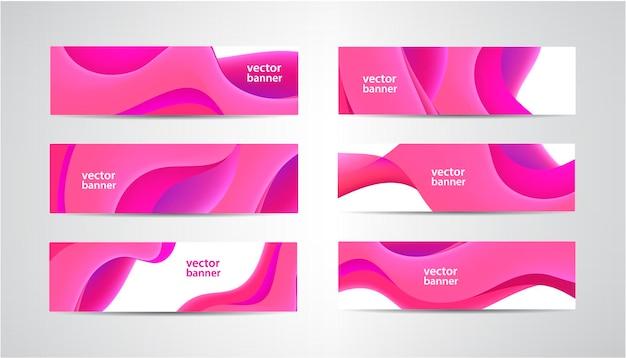 Conjunto de banderas rosadas onduladas abstractas, fondo horizontal de forma de flujo