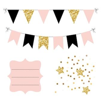 Conjunto de banderines dorados, negros y rosados, estrellas y marco curvo.