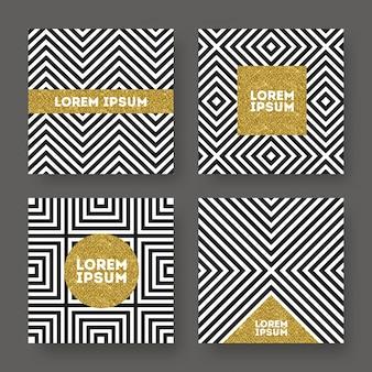 Conjunto de banner abstracto, brillo dorado sobre un fondo rayado geométrico blanco y negro.