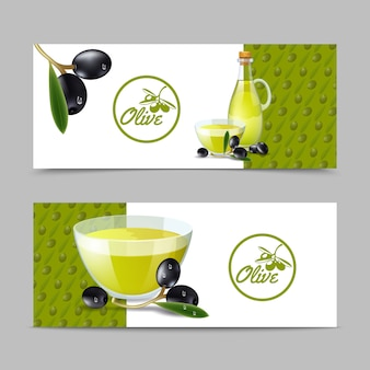 Conjunto de banner de aceite de oliva