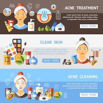 Conjunto de banner de acné