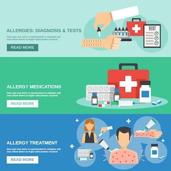Conjunto de banner de alergia