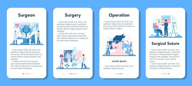Conjunto de banner de aplicación móvil de cirujano