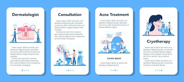 Conjunto de banner de aplicación móvil de dermatólogo