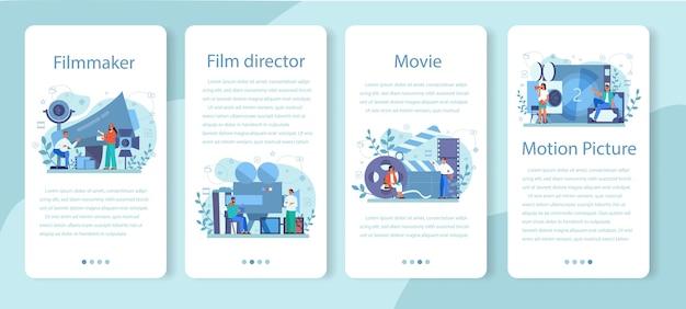 Conjunto de banner de aplicación móvil de director de cine. idea de creatividad