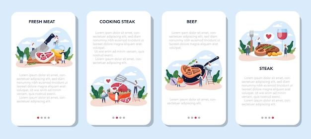 Conjunto de banner de aplicación móvil de filete. gente cocinando sabrosa carne a la parrilla en el plato. deliciosa carne a la barbacoa. comida de restaurante asada.