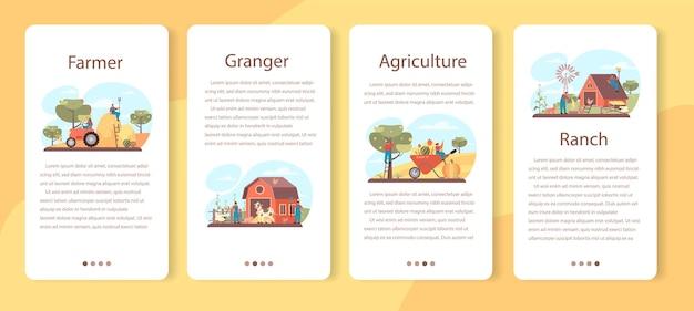 Conjunto de banner de aplicación móvil de granjero