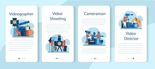 Conjunto de banner de aplicación móvil de producción de video o camarógrafo.