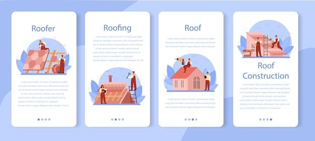 Conjunto de banner de aplicación móvil de trabajador de construcción de techo.