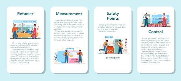 Conjunto de banner de aplicación móvil de trabajador de gasolinera o reabastecimiento