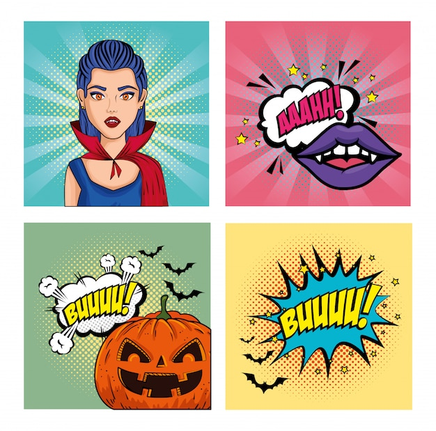 Conjunto de banner de arte pop de estilo halloween