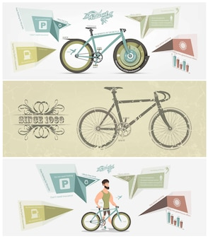 Conjunto de banner de bicicleta.