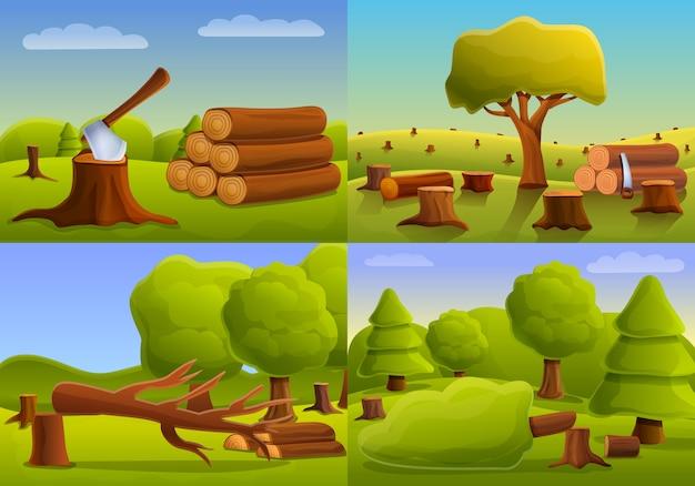 Conjunto de banner de bosque de deforestación, estilo de dibujos animados