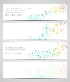 Conjunto de banner científico moderno conjunto de adn de estructura de molécula y neuronas