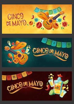 Conjunto de banner de cinco de mayo de dibujos animados